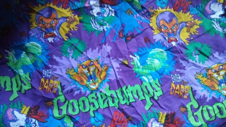 Vintage Goosebumps Monsters Twin Bed Flat Sheet Fabric 90s RL Stine Crafts #Springs #Goosebumps #RLStineGoosebumps