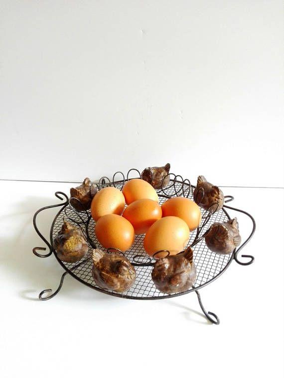Panier fil de fer œufs cuisine vintage french vintage