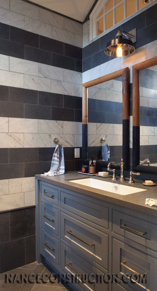 boys bathroom. Nance Construction like the painted cabinets, rectangle sink, faucet and drawer pulls