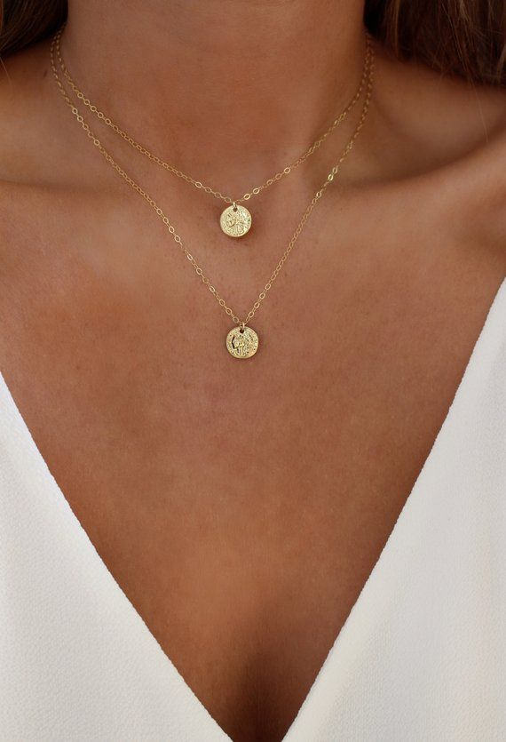 Gold Coin Necklace Set | Coin Layering Necklace | Greek Coin | Bohemian Jewelry | Medallion Necklace | Minimalist Jewelry | Charm Necklace