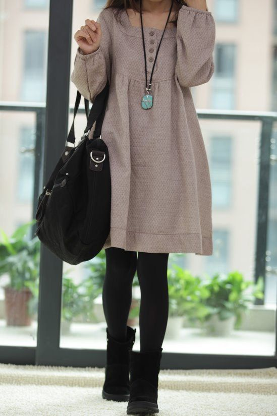 Shirt dress, tights and boots! Winning combination!
