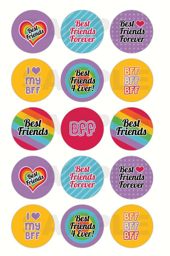 INSTANT DOWNLOAD - Best Friends BFF Bottle Cap Images - 4x6 Digital Collage Sheet - 1 Inch Circles for Bottlecaps, Hair Bow Centers, & More on Etsy, $1.25