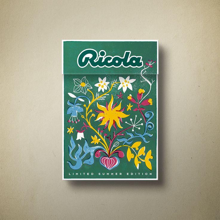 Ricola limited edition Packaging – Der Hersteller des typisch schweizerischen Kräuterbonbons schreibt jährlich einen Wettbewerb für die Gestaltung der limitierten Sommeredition aus. Die handgemachte Umsetzung soll die natürliche Schönheit der Kräuterwelt wiedergeben.
