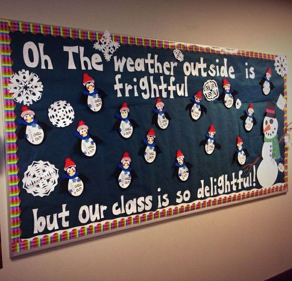 Winter Snowman and Snowflake Classroom Bulletin Board.
