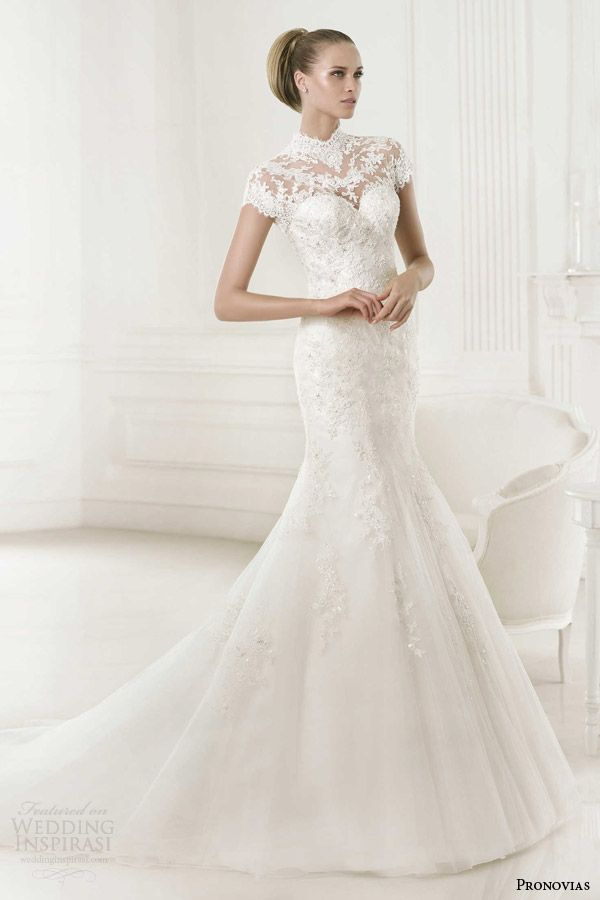 Pronovias 2015 #bridal pre-collection: Babet #wedding dress with short sleeve turtle neck lace top. #weddinggown #weddingdress
