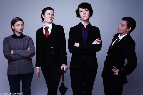 """All female Sherlock cosplay"" -- they are good. I especially like Fem Mycroft."