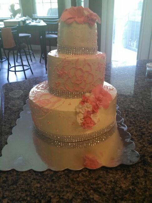 (lopsided) 3 tier buttercream brush embroidery wedding cake