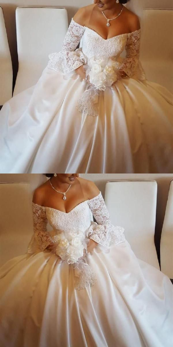 Custom Made Appealing Ball Gown Wedding Dresses, V-Neck Wedding Dresses, Wedding Dresses Lace