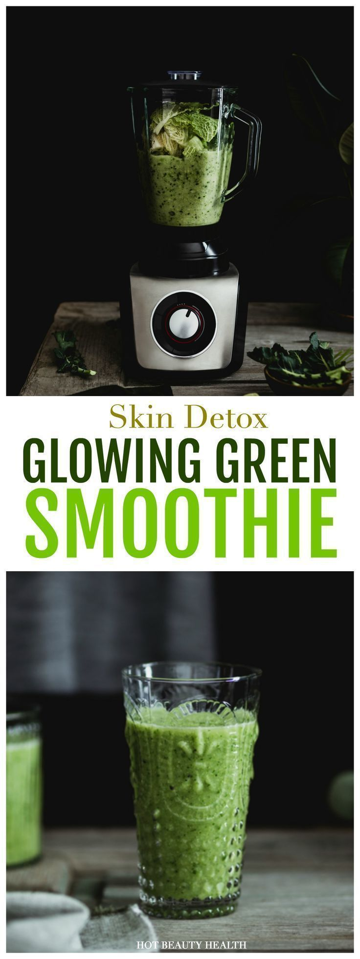 """Give your skin a beauty detox in the new year! This delicious green smoothie recipe will give you glowing skin and the fuel for a healthy weight loss. I like to call it the """"24 hour cleanse"""" because in one day, it can give your whole body a cleanse and I feel healthier too. Hot Beauty Health #smoothierecipe #smoothieguide #detox #GreenSmoothieForSkin"""