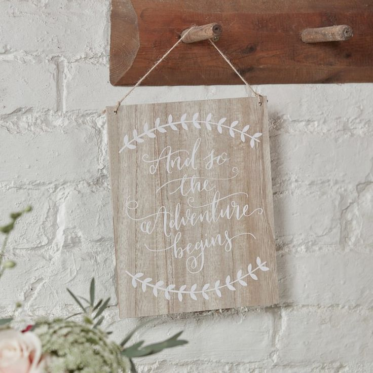 And So The Adventure Begins Wooden Sign - Boho