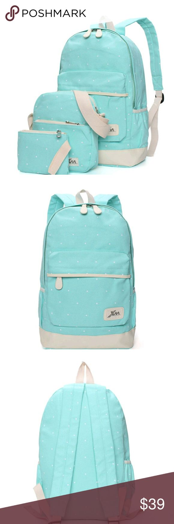 Light Blue 3 pcs. Backpack Set w/ Shoulder Bg NWT 3 pcs. Light blue with white polka dots backpack set. Comes with backpack, shoulder bag, and small coin purse. Main backpack has main zipper pocket, front zipper pocket, 2 inner zipper pockets, one open closure pocket, and bottle holder pouch on side. Holds tablet, binder, notebooks, textbooks, etc. Shoulder bag is perfect for lunch or make up! Coin purse for lunch money. Super cute, stylish and functional! Bags Backpacks