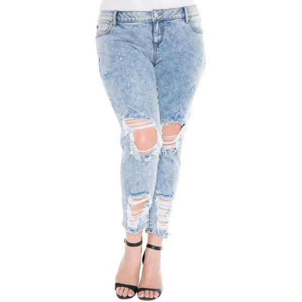 Plus Size Women's Slink Jeans Destroyed Boyfriend Jeans ($98) ❤ liked on Polyvore featuring plus size women's fashion, plus size clothing, plus size jeans, amelia, plus size, faded blue jeans, ripped boyfriend jeans, ripped jeans, acid wash jeans and blue ripped jeans