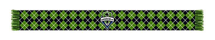 "Seattle Sounders Ruffneck Green Black Argyle Knit Acrylic Scarf 7"" x 60"""