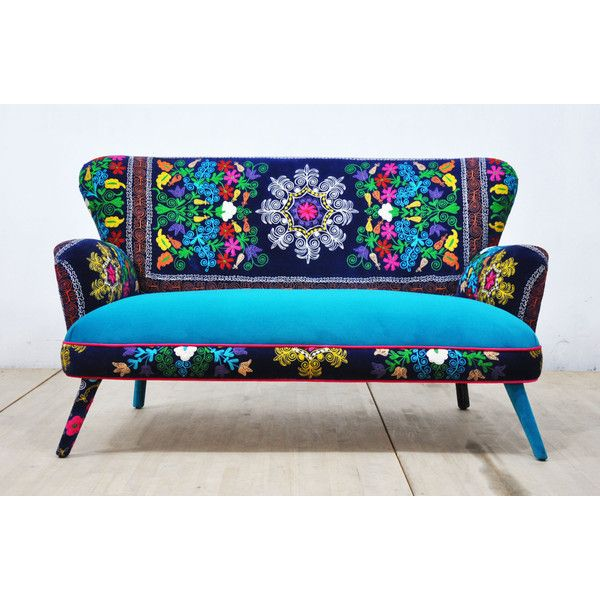 Suzani 2-Seater Sofa Deep Blue ($2,200) ❤ liked on Polyvore featuring home, furniture, sofas, fondos, grey, home & living, living room furniture, sofas & loveseats, dark blue sofa and european sofa