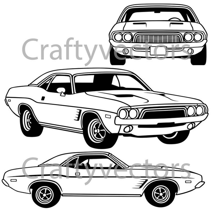 Dodge Challenger First Generation 1973 Vector File Etsy