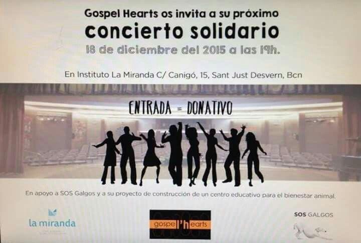 Mañana 18 de diciembre, a las 19h en  La Miranda de #SantJustDesvern (#Barcelona), concierto solidario de Gospel'Hearts en apoyo a SOS Galgos y al proyecto de construcción de un Centro de Bienestar Animal y Naturaleza. No podéis faltar!