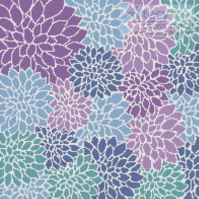Purple Blue Turquoise Flowers Cushion cross stitch pattern.