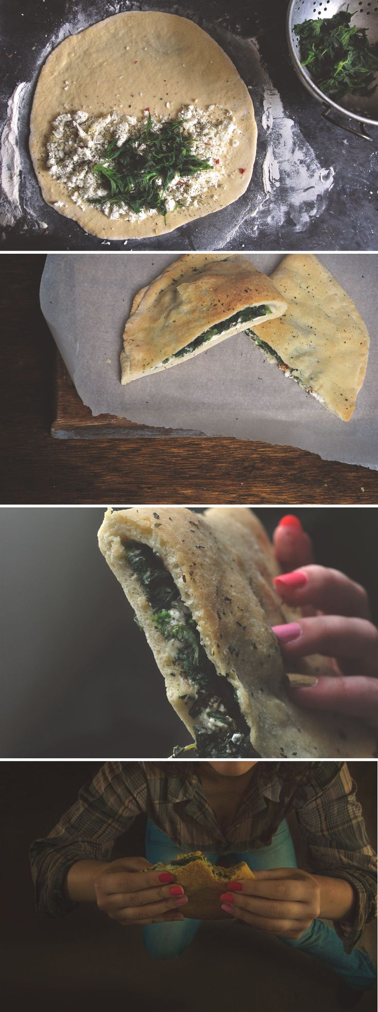 """Calzone aux """"mauvaises herbes"""" (orties, menthe)"""