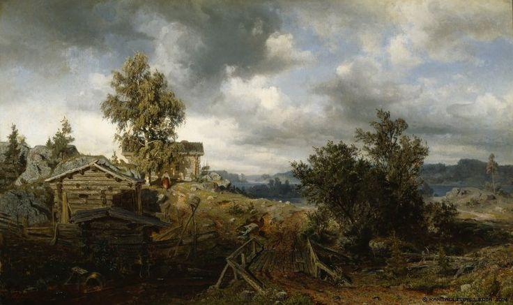 Werner Holmberg (Finnish, 1830-1860) - Torppa Kurussa - Kuru croft 1860 - Finland
