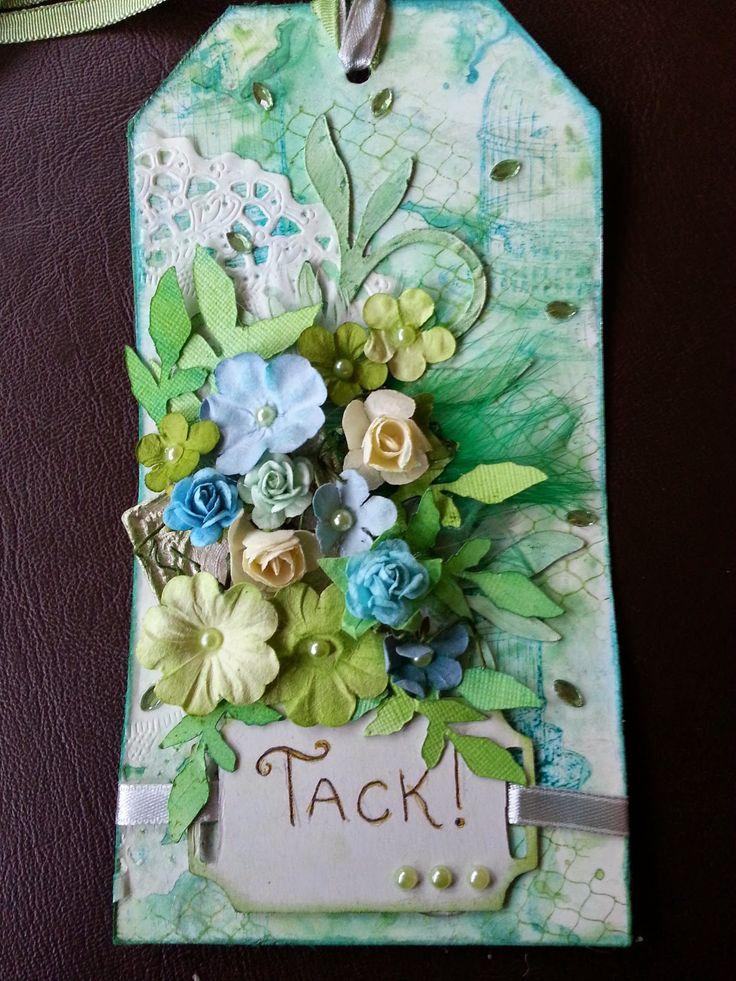 Scrapstund: Tack tag i blått och grönt. Made by Jennie Bengtsson