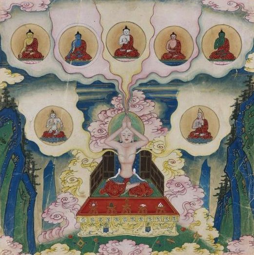 Paintings from a Secret Album Illustrating the Tantric Tibetan Meditation Practice Saravid Vairochana, Primordial Buddha. China. 1700s.