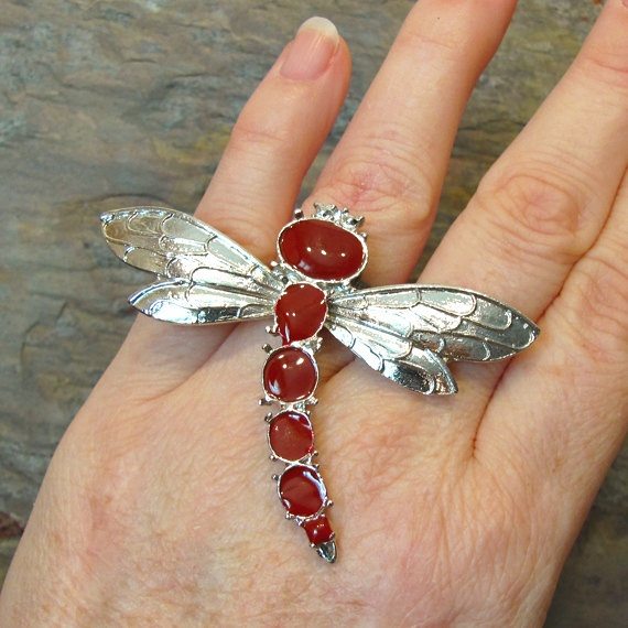 Dragonfly HUGE Fashion Costume Cocktail Ring by CatherinesJewelry