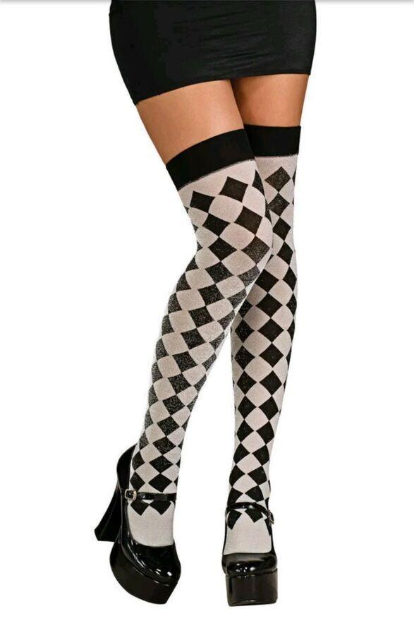 4351d545023 Harlequin Hosiery Argyle Black Silver Thigh Highs Ladies Costume Accessories  82686090346 eBay Black Silver Thigh