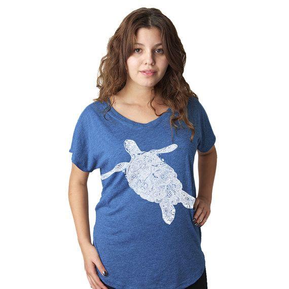 Womens Nautical t-shirt Women's Elegant Turtle by sharpshirter