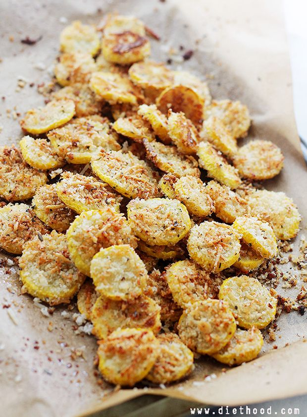 Garlic Parmesan Yellow Squash Chips Recipe - RecipeChart.com