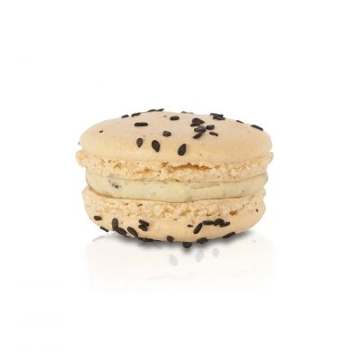 Black Sesame Macaron. A white chocolate ganache combined with earthy notes of black sesame