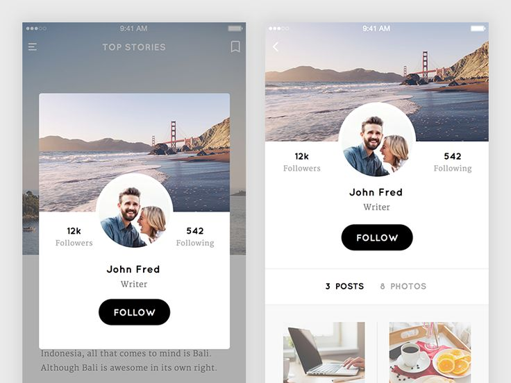 A design of profile screen from my latest UI kit freebie. Grab the UI KIT (20 elements) on madefordesigners. Don't forget to share it to the world, because sharing is caring.   Download Check full ...