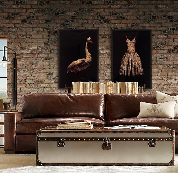 sofa leather couches sofa ideas exposed brick restoration hardware