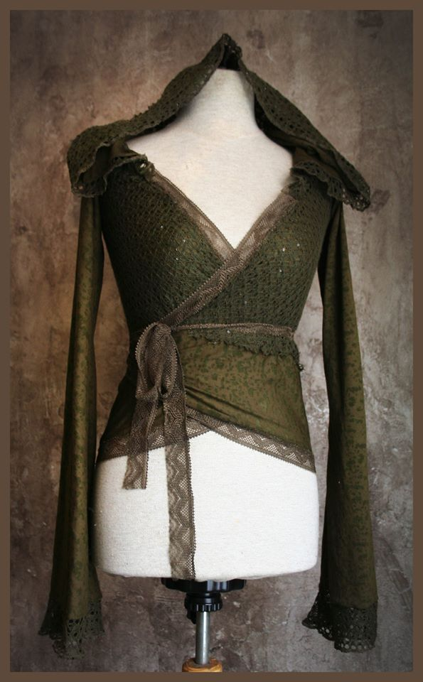 *forest elf* mossy green lace hoodie <3