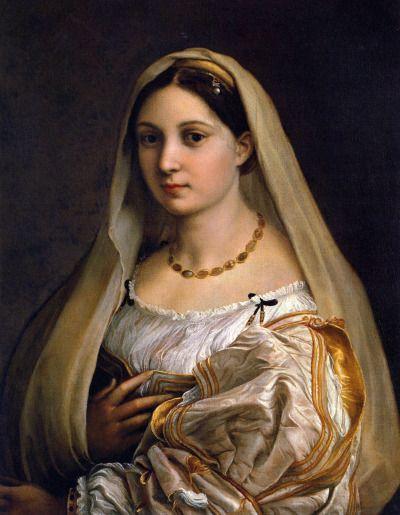 Raffaello Santi, la Donna Velata, 1516, olio su tavola, originariamente si trovava a casa del mercante Matteo Botti a Firenze, ora Galleria Palatina (Firenze).