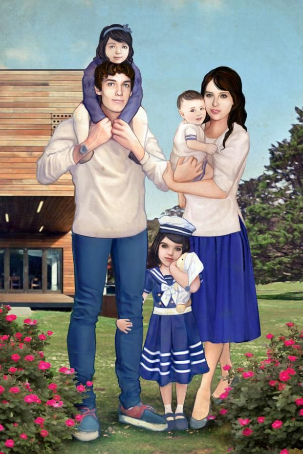 Future fiction: Ed Fornieles's new work imagines a world in which he and [ex-gf Felicity] Jones had three children (Picture: Ed Fornieles, courtesy Carlos/Ishikawa, London)
