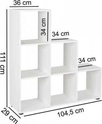 Wohnling WOHNLING Stufenregal LUNA Holz 6 Fächer Weiß Standregal 104,5 X  111 X 29 Cm | Design Raumteiler Für Ordner U0026 Bücher | Kleines Treppenregal  Jetzt ...