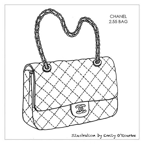 CHANEL - 2.55 BAG - Designer Handbag Illustration / Sketch / Drawing / CAD / Borsa Disegno