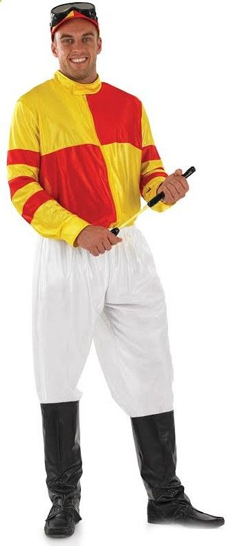 Mens Red and Yellow Jockey Fancy Dress Costume: Be a Sport and Put Your Bets On Because You Will Look Like the Best Dressed in Town in This Jockey Fancy Dress Costume. Perfect for a sports themed party!