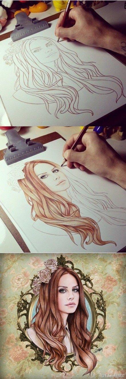 Hermoso dibujo de la bellisima Lana del Rey.