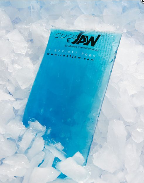 Flexible Hot and Cold Blue Gel Ice Pack for the Cool Jaw Face Wrap. Find it at: http://www.dentakit.com/fl.html