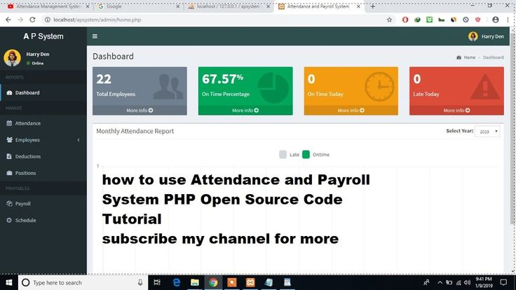 Attendance And Payroll System Php Open Source Code Tutorial Open Source Code Source Code Presentation Design Template