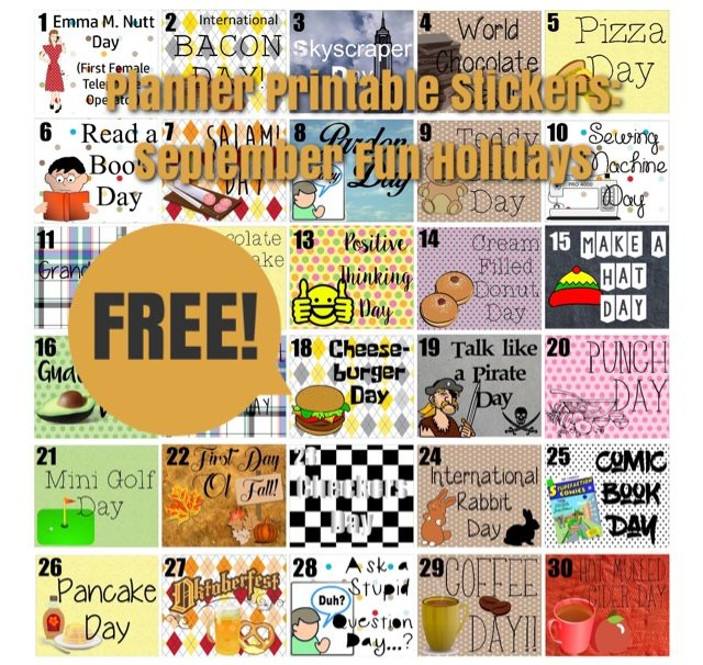 Uncommon Plans: FREE Printable Stickers: Fun September Holidays