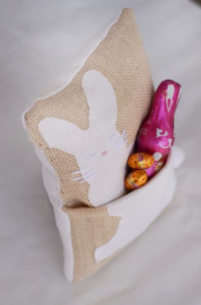 Easter Bunny Pocket Pillows - Free Sewing Tutorial + Printable PDF Template by WillowDay