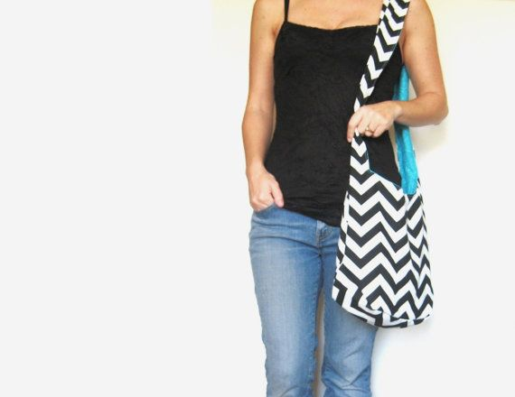Boho Bag. Cross Body Hobo Bag. Chevron Purse. Black and White Zig Zag Stripes. Reversible Fabric Purse Coordinate with Bold Solid Colors.