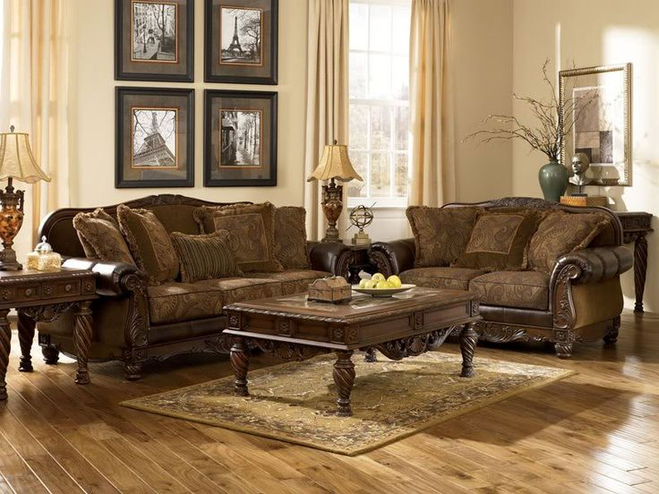 Mauricio Old World Bonded Leather Amp Fabric Sofa Couch Set