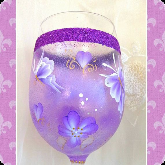 Hand painted wine glass hand painted wine glasses hand by Aligri