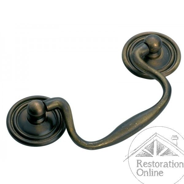 Tradco Swan Neck Handle - Antique Brass 80mm Tradco