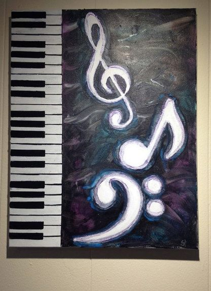 Piano Music Melted Crayon Art by gstarcreations on Etsy