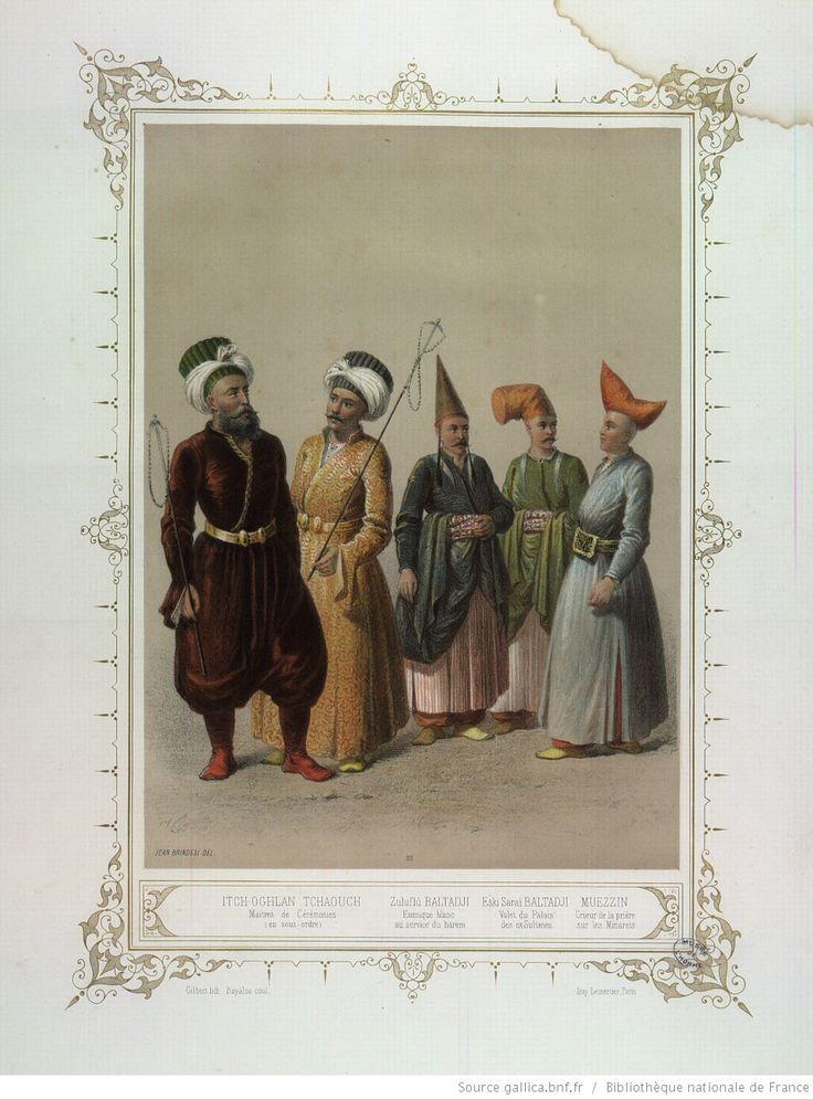 White eunuch on far right, from Musée des anciens costumes turcs de Constantinople by Brindesi et al. 1855. Source: gallica.fr