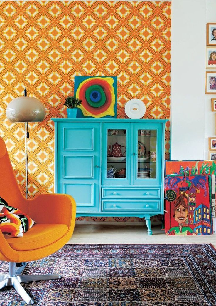 orange interior | inspiration and color matching | orange and light blue + yellow | vintage and boho chic inspiration from IKEA magazine